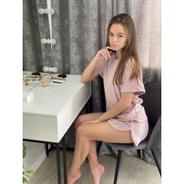 Женская тёплая велюровая пижама 091 нежно-розовый