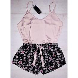 Женская пижама майка,шорты 026 беж-цветы