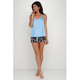 Женская пижама майка,шорты 026 голубой-цветы