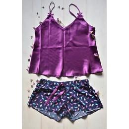 Женская пижама майка,шорты 026 сердце-фиолет