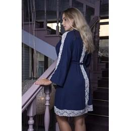 Женский длмашний халат с кружевом 054х синий