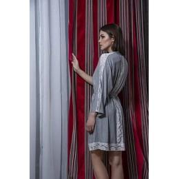 Женский длмашний халат с кружевом 054х серый