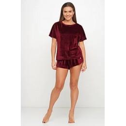 Женская тёплая велюровая пижама 091 бордовый