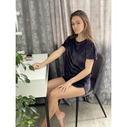 Женская тёплая велюровая пижама 091 графит