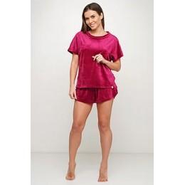 Женская тёплая велюровая пижама 091 малиновый