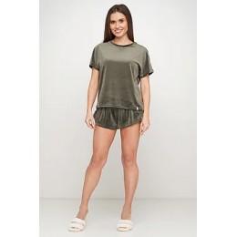 Женская тёплая велюровая пижама 091 темная олива