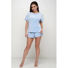 Женская тёплая велюровая пижама 091 голубой