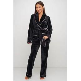Женский бархатный тёплый костю пиджак, штаны 008 чёрный