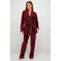 Женский бархатный тёплый костю пиджак, штаны 008 бордовый