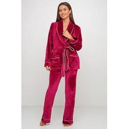 Женский бархатный тёплый костю пиджак, штаны 008 малиновый