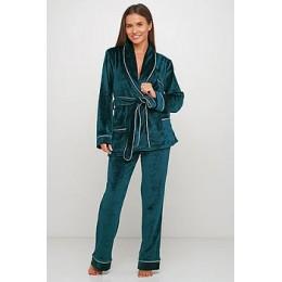 Женский бархатный тёплый костю пиджак, штаны 008 изумруд