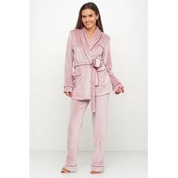 Женский бархатный тёплый костю пиджак, штаны 008 нежно розовый