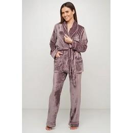 Женский бархатный тёплый костю пиджак, штаны 008 капучино