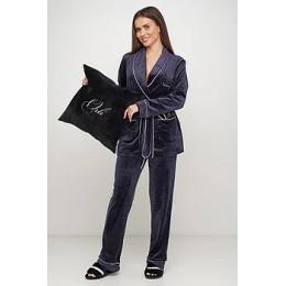Женский бархатный тёплый костю пиджак, штаны 008 темно синий