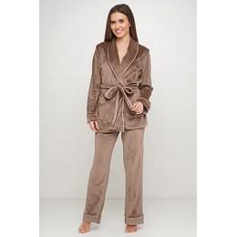 Женский бархатный тёплый костю пиджак, штаны 008 табак