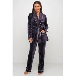 Женский бархатный тёплый костю пиджак, штаны 008 графит