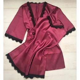 Женский атласный комплект пеньюар с халатом 007 бургундия