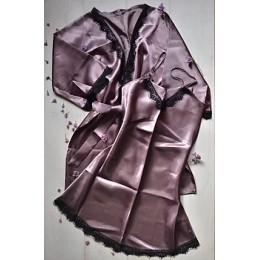 Женский атласный комплект пеньюар с халатом 007 капучино