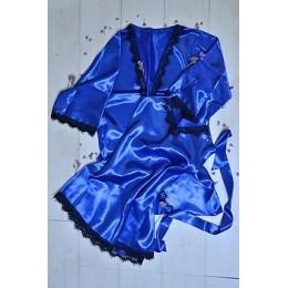 Женский атласный комплект пеньюар с халатом 007 электрик