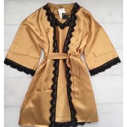 Женский атласный комплект пеньюар с халатом 007 золотистый
