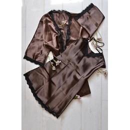 Женский атласный комплект пеньюар с халатом 007 шоколадный
