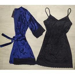 Женский бархатный комплект пеньюар халат 070-076 синий-черный