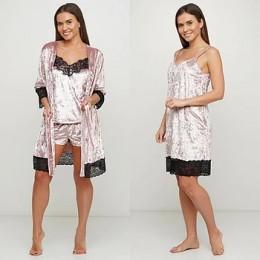 Женский бархатный комплект пеньюар халат 070-076 розовый