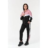 Женский спортивный костюм 302 черно-розовый