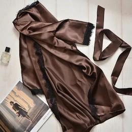 Женский атласный халат с кружевом под пояс 007 шоколадный