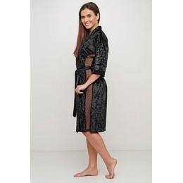 Женский бархатный халат 088 черный
