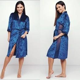 Женский бархатный халат 088 синий