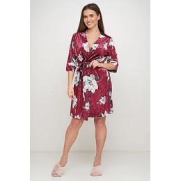 Женский бархатный халат с принтом 094 бордо жасмин