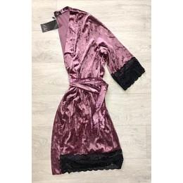 Женский атласный халат с кружевом под пояс 007 сирень