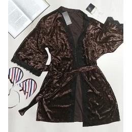Женский велюровый халат 007\1 шоколад