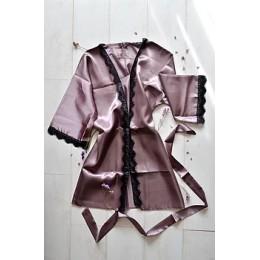 Женский атласный халат с кружевом под пояс 007 серый