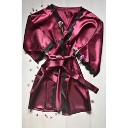 Женский атласный халат с кружевом под пояс 007 сливовый