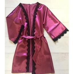 Женский атласный халат с кружевом под пояс 007 бургундия