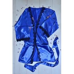 Женский атласный халат с кружевом под пояс 007 электрик