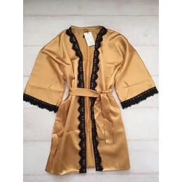 Женский атласный халат с кружевом под пояс 007 золотистый