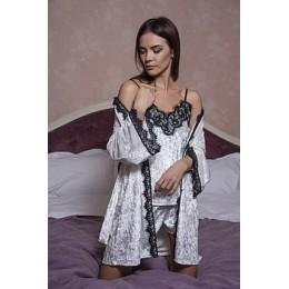 Женский велюровый халат с кружевом 048 бело-черный