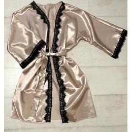 Женский атласный халат с кружевом под пояс 007 шампань