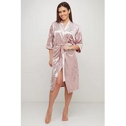 Женский бархатный халат 088 нежно розовый