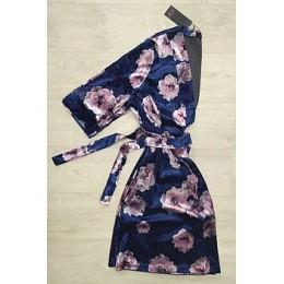 Женский бархатный халат с принтом 094 синяя роза