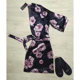 Женский бархатный халат с принтом 094 черная роза