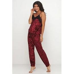 Женский комплект майка шорты и штаны для отдыха 090 бордо