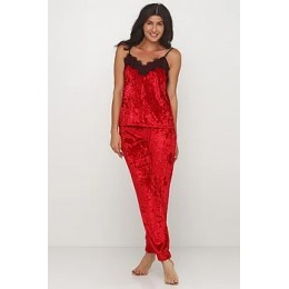 Женский комплект майка шорты и штаны для отдыха 090 красный