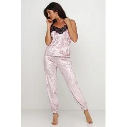 Женский комплект майка шорты и штаны для отдыха 090 нежно розовый