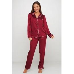 Женский комплект брючная шелковая пижама 028 марсала