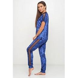 Женский комплект бархатная пижама футболка и штаны 019 синий