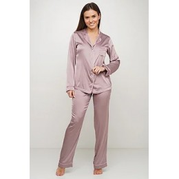 Женский комплект брючная шелковая пижама 028 капучино